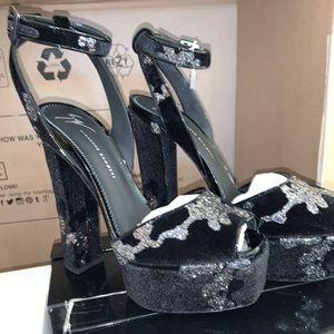 Giuseppe Zanotti Black Suede Glitter Sandal 39